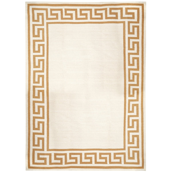 Camel Greek Key Border Reversible Peruvian Llama Flat