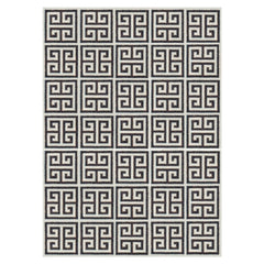 Brown or Black Greek Key Peruvian Llama Flat Weave Rug by Jonathan Adler