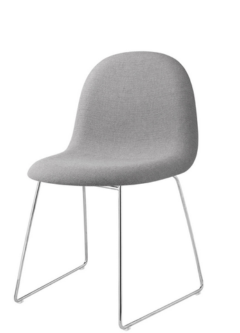 3D Sledge Base Dining Chair Fully Upholstered (Non-stackable) by Gubi