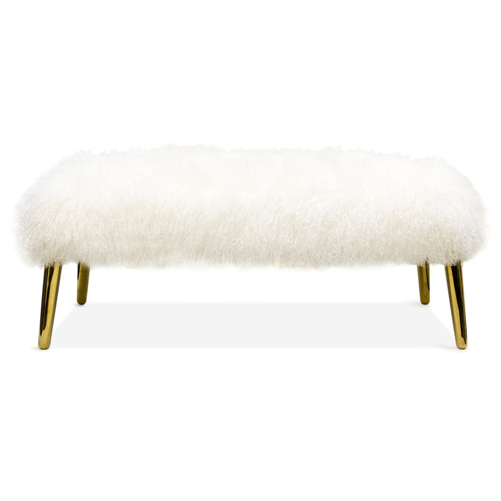 Jonathan Adler Long Haired Mongolian Lamb Bench The Modern Shop