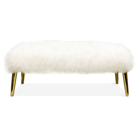 Jonathan Adler Long Haired Mongolian Lamb bench