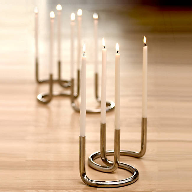 Gemini Candleholder & Danish Taper Candles by Architectmade