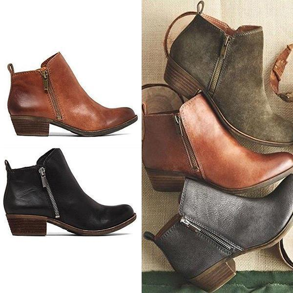 Variedshoes Leather Suede Vintage Boots