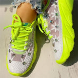 Variedshoes Wedding Mesh Diamante Trim Lace-Up Sneakers