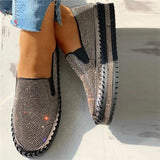 Variedshoes Women Casual Fashion Rhinestone Slip-on Loafers/ Sneakers