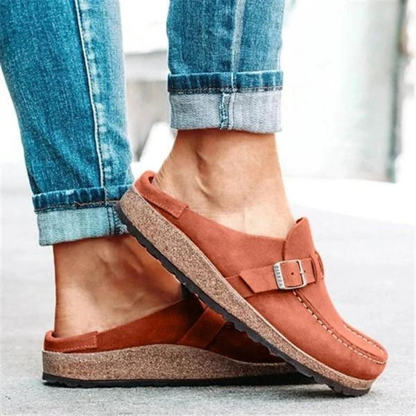 Variedshoes Women Casual Comfy Leather Slip On Sandals
