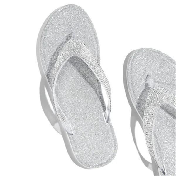 Variedshoes Silver Summer Artificial Leather Rhinestone Seaside Slippers