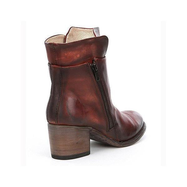 Variedshoes Women Chunky Heel Side Zipper Boots