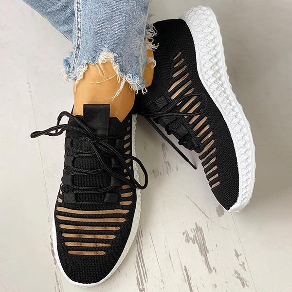 Variedshoes Net Surface Breathable Lace-Up Hollow Out Sneakers