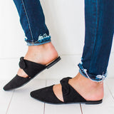 Variedshoes Tie Front Point Toe Flats Sandals