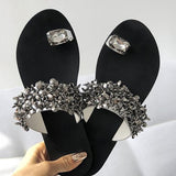 Variedshoes Womens Shiny Toe Ring Flat Slippers