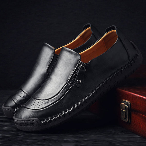 Variedshoes Stitching Zipper Slip-ons Leather Shoes