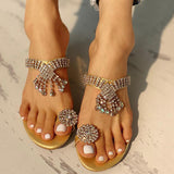 Variedshoes Rhinestone Design Casual Heeled Slippers