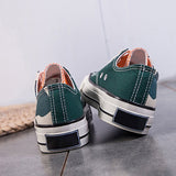 Variedshoes Round Toe Lace-Up Canvas Sneakers