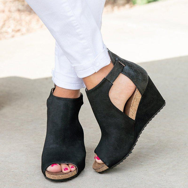 Variedshoes Peep Toe Blocking Hook-Loop Wedges Shoes