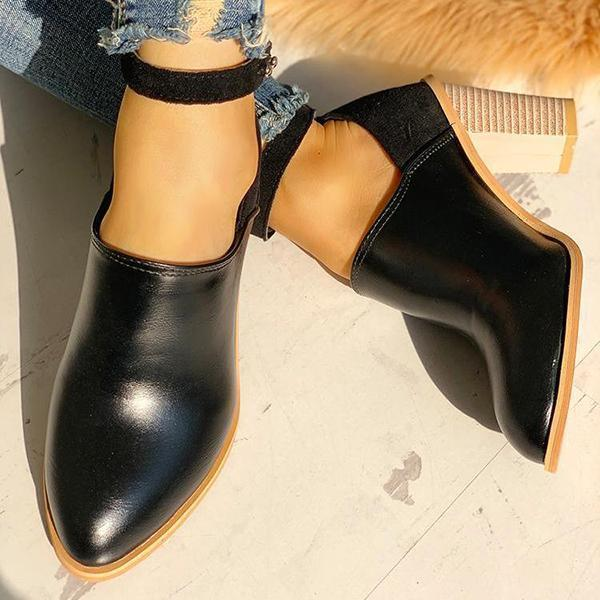 Variedshoes Ankle Strap Chunky Heel Boots