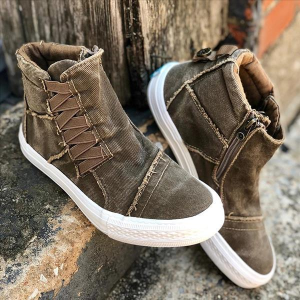 Variedshoes Casual Daily High Top Stylish Flat Sneakers
