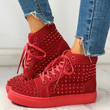 Variedshoes Solid Studded Eyelet Lace-Up Casual Sneakers