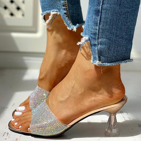 Variedshoes Glitter Studded Open Toe Thin Heels Sandals