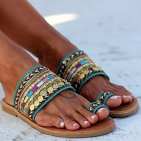 Variedshoes Ethnic Boho Style Toe Ring Sandals