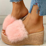 Variedshoes Faux-Fur Platform Wedge Heeled Sandals