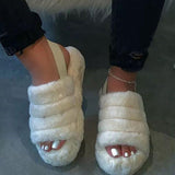 Variedshoes Fur Sling Back Slipper Sandals
