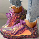 Variedshoes Fashion Glitter Colorblock Lace-up Sneakers