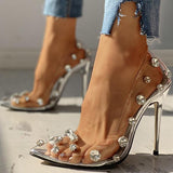 Variedshoes Transparent Studded Thin Heels