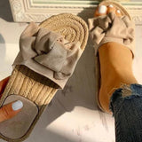 Variedshoes Bowknot Design Hempen Cord espadrilles Flat slippers