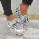 Variedshoes Women Shining Rhinestone Slip-on Loafers&Sneakers with Cute Bowknot