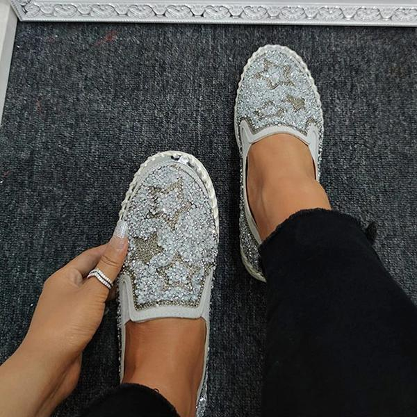 Variedshoes Women Chic Shining Star Rhinestone Slip-on Loafers&Sneakers