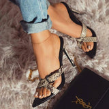 Variedshoes Leopard Serpentine Cross Stiletto Heels
