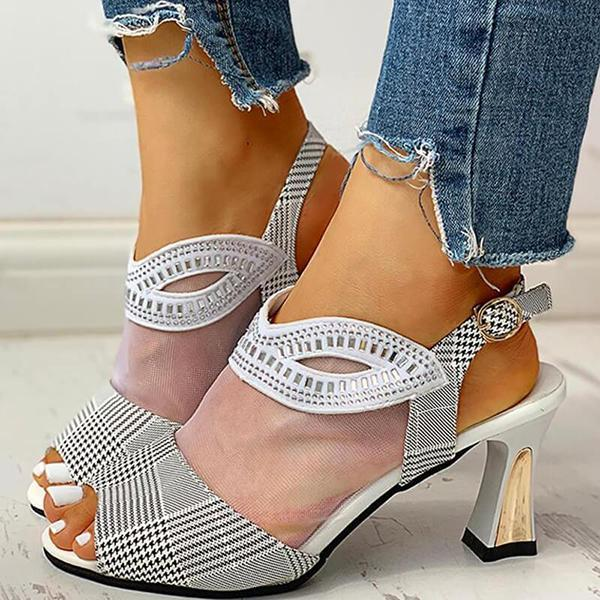 Variedshoes Women Mesh Hollow Out Rhinestone Chunky Sandals