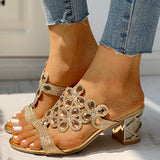 Variedshoes Studded Diamante Trim Chunky Heeled Sandals