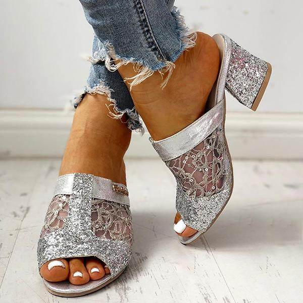 Variedshoes Sequins Mesh Chunky Heeled Sandals