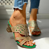 Variedshoes Studded Cut Out Design Chunky Heeled Sandals