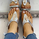 Variedshoes Studded Detail Toe Post Flat Sandals