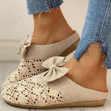 Variedshoes Women Sweet Lace Bowknot Comfy Round Toe Slippers