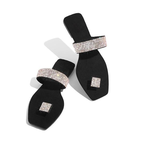 Variedshoes Women Square Toe Rhinestone Slippers