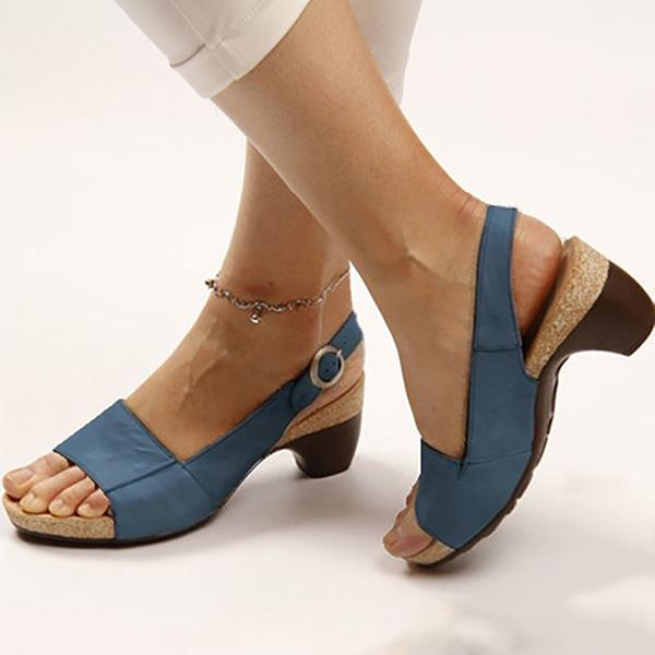 Variedshoes Women Elegant Low Chunky Heel Comfy Sandals