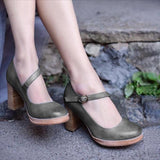 Variedshoes Chunky Heel All Season Faux Leather Sandals