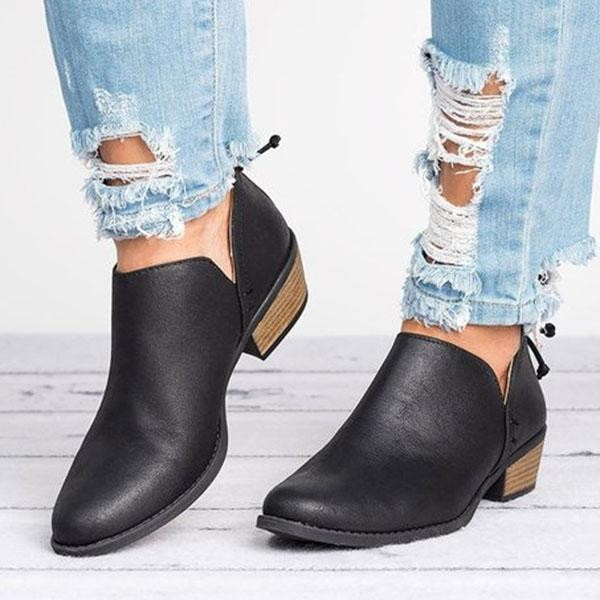 Variedshoes Women Pu Casual Daily Chunky Heel Plus Size Boots