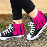 Variedshoes Black Red Canvas Flat Heel Tassel Casual Sneakers