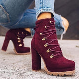 Variedshoes Women'S Fashion Platform Booties Ankle Boots High Heels Lace Up Martin Boots