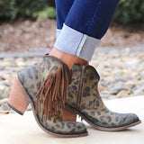 Variedshoes Fashion Leopard Tassel Low Heel Non-Slip Boots