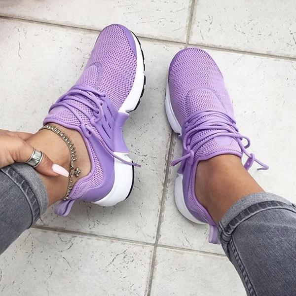 Variedshoes Lace-Up Light Running Purple Sneakers