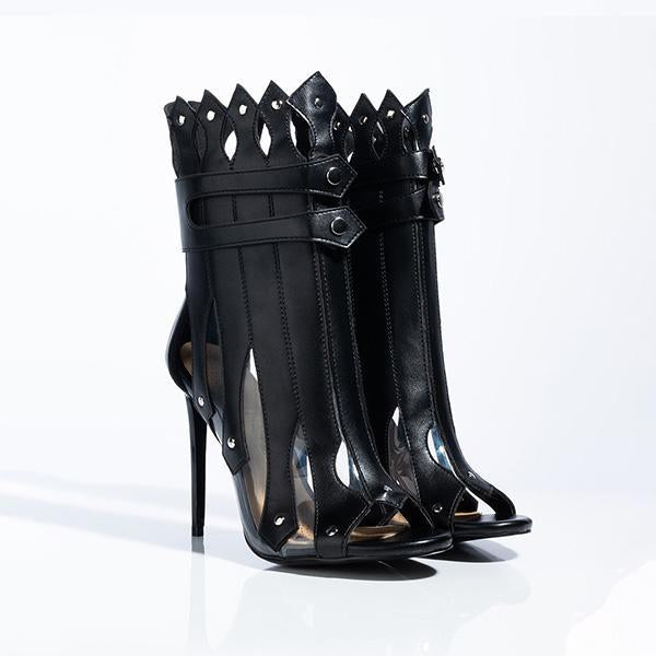 Variedshoes Hollow-Out High Heels Boots