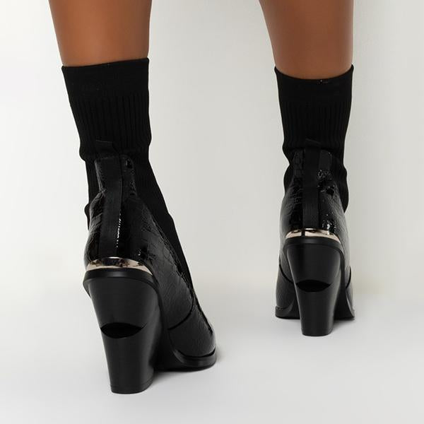 Variedshoes Chunky Heel Black Crocc Boots