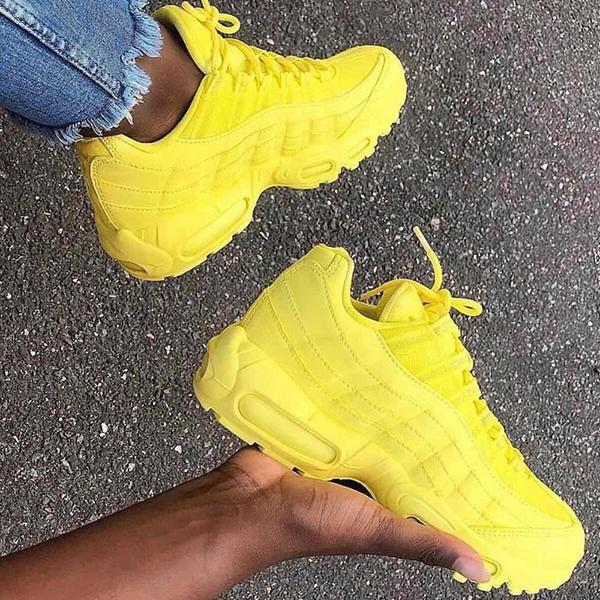 Variedshoes Lemon Yellow Lace-Up Low Top Sneakers