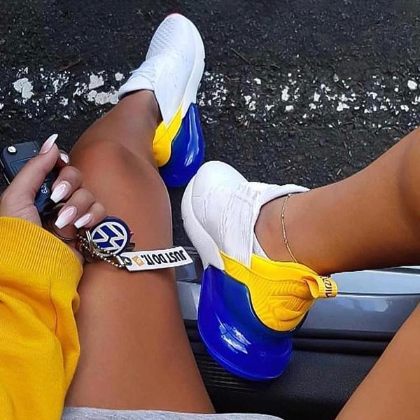 Variedshoes Lace-Up Air Cushion Blue-Yellow Sneakers